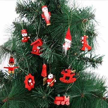 Anyingkai 30pcs Holzanhänger Weihnachten,Weihnachtsverzierungen Aus Holz,Holzanhänger Weihnachten Rot,Weihnachten Anhänger Holzanhänger,Weihnachtsbaum Deko Holz - 5