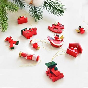 Anyingkai 30pcs Holzanhänger Weihnachten,Weihnachtsverzierungen Aus Holz,Holzanhänger Weihnachten Rot,Weihnachten Anhänger Holzanhänger,Weihnachtsbaum Deko Holz - 6