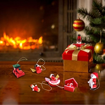 Anyingkai 30pcs Holzanhänger Weihnachten,Weihnachtsverzierungen Aus Holz,Holzanhänger Weihnachten Rot,Weihnachten Anhänger Holzanhänger,Weihnachtsbaum Deko Holz - 7
