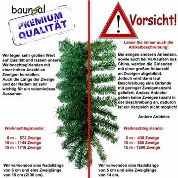 Baunsal GmbH & Co.KG Weihnachtsgirlande Tannengirlande Girlande grün 10 m mit roter Dekoration und Lichterkette mit LEDs und Fernbedienung - 2
