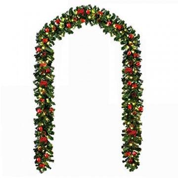 Baunsal GmbH & Co.KG Weihnachtsgirlande Tannengirlande Girlande grün 10 m mit roter Dekoration und Lichterkette mit LEDs und Fernbedienung - 1