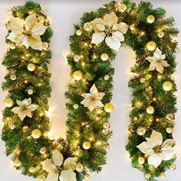 Bcamelys Weihnachtsgirlande mit Beleuchtung Weihnachtsdekoration 270cm Weihnachtsgirlande beleuchtet LED-Schnur beleuchtet Weihnachtstürdekor Weihnachtsgirlande Tannengirlande Lichterkette (Golden) - 1