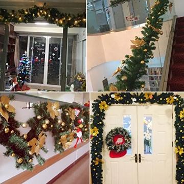 Bcamelys Weihnachtsgirlande mit Beleuchtung Weihnachtsdekoration 270cm Weihnachtsgirlande beleuchtet LED-Schnur beleuchtet Weihnachtstürdekor Weihnachtsgirlande Tannengirlande Lichterkette (Golden) - 5