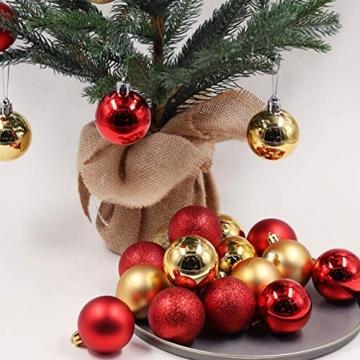 BESPORTBLE 24er Pack Weihnachtskugeln Ornamente Dekoration für Baumhaus Indoor Outdoor Hängekugeln 6cm Rot - 3