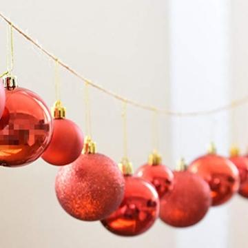 BESPORTBLE 24er Pack Weihnachtskugeln Ornamente Dekoration für Baumhaus Indoor Outdoor Hängekugeln 6cm Rot - 5