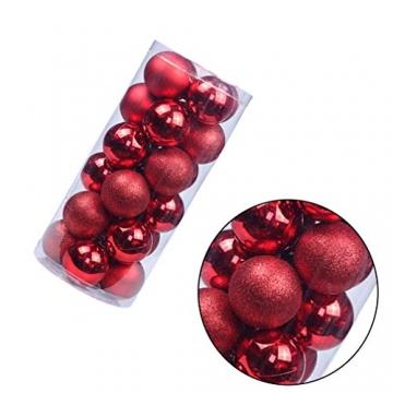 BESPORTBLE 24er Pack Weihnachtskugeln Ornamente Dekoration für Baumhaus Indoor Outdoor Hängekugeln 6cm Rot - 6