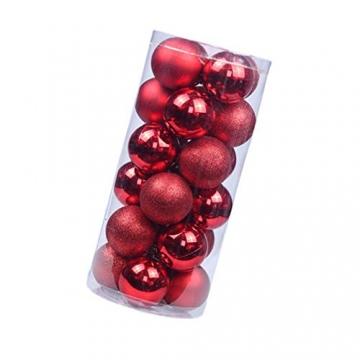 BESPORTBLE 24er Pack Weihnachtskugeln Ornamente Dekoration für Baumhaus Indoor Outdoor Hängekugeln 6cm Rot - 7