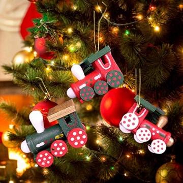 BOSSTER Hölzerner Weihnachtszug 6 stücke Weihnachten Holzeisenbahn Mini Weihnachten Deko mit Seil zum Weihnachten Vitrine Fenster Desktop Dekoration - 2