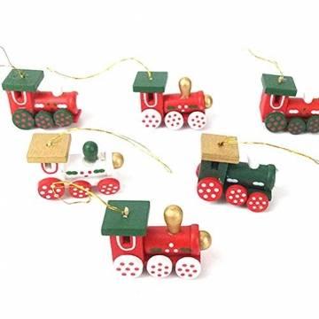 BOSSTER Hölzerner Weihnachtszug 6 stücke Weihnachten Holzeisenbahn Mini Weihnachten Deko mit Seil zum Weihnachten Vitrine Fenster Desktop Dekoration - 1
