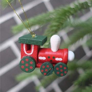 BOSSTER Hölzerner Weihnachtszug 6 stücke Weihnachten Holzeisenbahn Mini Weihnachten Deko mit Seil zum Weihnachten Vitrine Fenster Desktop Dekoration - 5