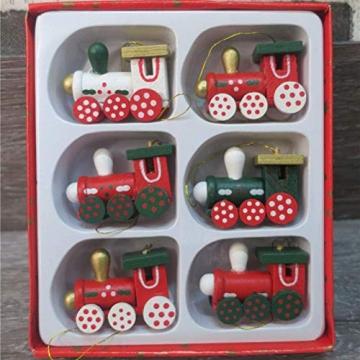 BOSSTER Hölzerner Weihnachtszug 6 stücke Weihnachten Holzeisenbahn Mini Weihnachten Deko mit Seil zum Weihnachten Vitrine Fenster Desktop Dekoration - 6