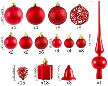 Brubaker 101-teiliges Set Weihnachtskugeln mit Baumspitze Rot Christbaumschmuck - 2