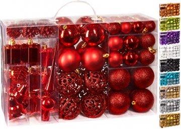 Brubaker 101-teiliges Set Weihnachtskugeln mit Baumspitze Rot Christbaumschmuck - 1