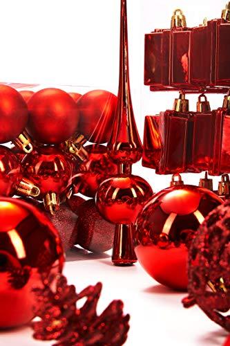 Brubaker 101-teiliges Set Weihnachtskugeln mit Baumspitze Rot Christbaumschmuck - 6