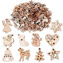 BUONDAC 200 STK Kleine Anhänger Holz Weihnachten Deko für Weihnachten Geschenke DIY Handwerk Basteln Bonboniere Geschenkbox Adventskalender Säckchen Weihnachtskalender Box usw. Dekohänger - 1
