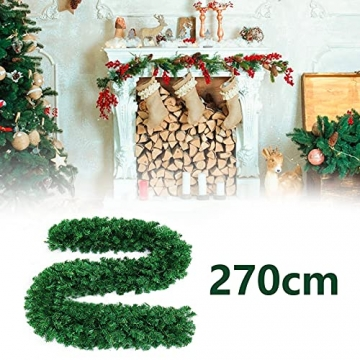 CHEYLIZI Weihnachtsgirlande Grün Künstliche Tannengirlande 2,7m Girlande Weihnachten Tanne Weihnachtsdeko für Aussen und Innen Deko für Weihnachten, Treppengeländer - 2