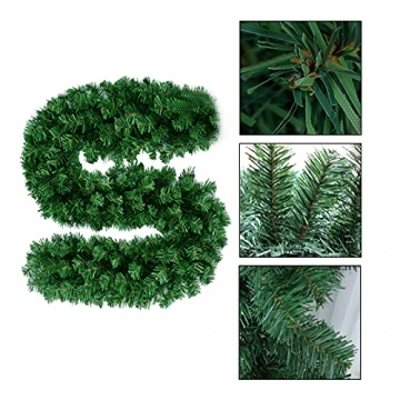 CHEYLIZI Weihnachtsgirlande Grün Künstliche Tannengirlande 2,7m Girlande Weihnachten Tanne Weihnachtsdeko für Aussen und Innen Deko für Weihnachten, Treppengeländer - 3