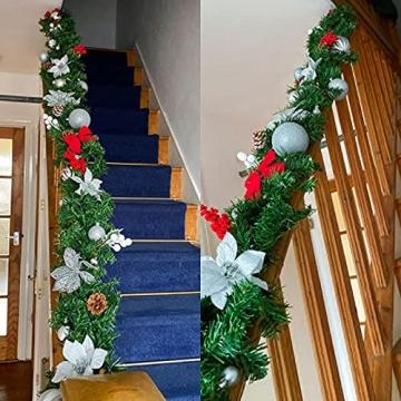 CHEYLIZI Weihnachtsgirlande Grün Künstliche Tannengirlande 2,7m Girlande Weihnachten Tanne Weihnachtsdeko für Aussen und Innen Deko für Weihnachten, Treppengeländer - 6