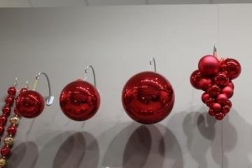 Christbaum-Kugeln rot glänzend 140 mm Durchmesser 1 Stück Kunststoff - 2