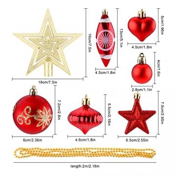 Christbaumkugeln Weihnachtskugeln 74er Set Christbaumschmuck Christbaumkugeln Set Rot und Gold Bruchsichere Weihnachtskugel Ornamente mit Aufhänger Anhänger für Weihnachten Weihnachtsbaum Hängende - 2