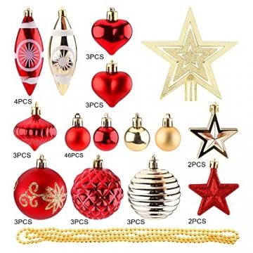 Christbaumkugeln Weihnachtskugeln 74er Set Christbaumschmuck Christbaumkugeln Set Rot und Gold Bruchsichere Weihnachtskugel Ornamente mit Aufhänger Anhänger für Weihnachten Weihnachtsbaum Hängende - 3