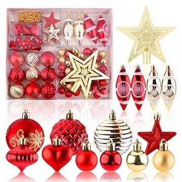Christbaumkugeln Weihnachtskugeln 74er Set Christbaumschmuck Christbaumkugeln Set Rot und Gold Bruchsichere Weihnachtskugel Ornamente mit Aufhänger Anhänger für Weihnachten Weihnachtsbaum Hängende - 1
