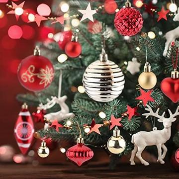 Christbaumkugeln Weihnachtskugeln 74er Set Christbaumschmuck Christbaumkugeln Set Rot und Gold Bruchsichere Weihnachtskugel Ornamente mit Aufhänger Anhänger für Weihnachten Weihnachtsbaum Hängende - 5