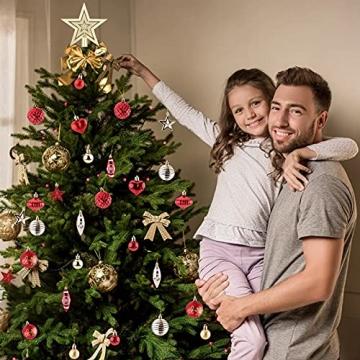 Christbaumkugeln Weihnachtskugeln 74er Set Christbaumschmuck Christbaumkugeln Set Rot und Gold Bruchsichere Weihnachtskugel Ornamente mit Aufhänger Anhänger für Weihnachten Weihnachtsbaum Hängende - 6