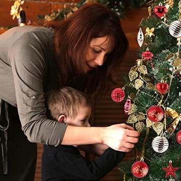 Christbaumkugeln Weihnachtskugeln 74er Set Christbaumschmuck Christbaumkugeln Set Rot und Gold Bruchsichere Weihnachtskugel Ornamente mit Aufhänger Anhänger für Weihnachten Weihnachtsbaum Hängende - 7