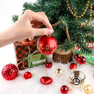 Christbaumkugeln Weihnachtskugeln 74er Set Christbaumschmuck Christbaumkugeln Set Rot und Gold Bruchsichere Weihnachtskugel Ornamente mit Aufhänger Anhänger für Weihnachten Weihnachtsbaum Hängende - 8