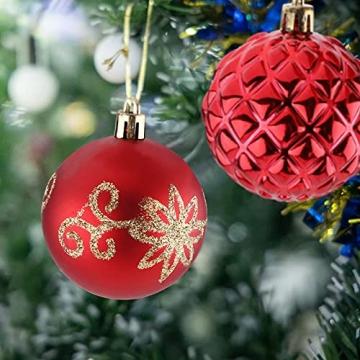 Christbaumkugeln Weihnachtskugeln 74er Set Christbaumschmuck Christbaumkugeln Set Rot und Gold Bruchsichere Weihnachtskugel Ornamente mit Aufhänger Anhänger für Weihnachten Weihnachtsbaum Hängende - 9