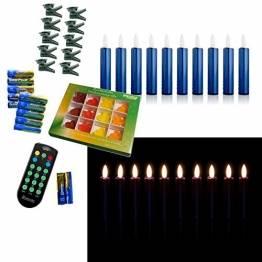 DbKW (Blau 10er) NEUHEIT! Echtflamme-LED Christbaumkerzen, Fernbedienung Timer Dimmfunktion Flackerlicht + 12tlg. Kalff Seifenset! Baumkerzen Weihnachtskerzen - 1