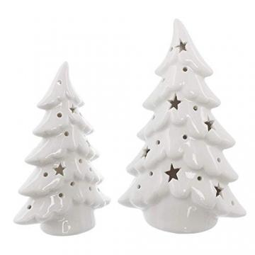 Dekoleidenschaft 2er Set LED Tannen aus Porzellan, Hochglanz weiß, 15 + 19 cm hoch, Tannenbaum beleuchtet, Adventsdeko, Weihnachtsdeko - 2