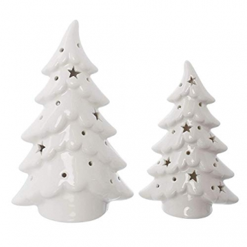 Dekoleidenschaft 2er Set LED Tannen aus Porzellan, Hochglanz weiß, 15 + 19 cm hoch, Tannenbaum beleuchtet, Adventsdeko, Weihnachtsdeko - 3