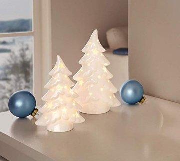 Dekoleidenschaft 2er Set LED Tannen aus Porzellan, Hochglanz weiß, 15 + 19 cm hoch, Tannenbaum beleuchtet, Adventsdeko, Weihnachtsdeko - 1