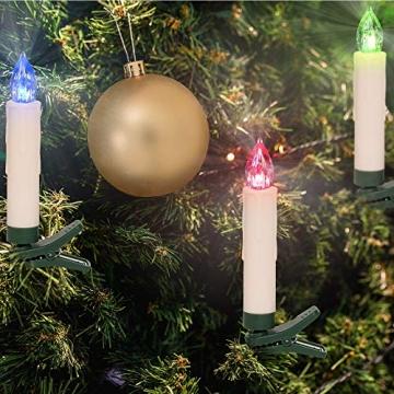 Deuba 30x LED Weihnachtsbaumkerzen kabellos bunt Fernbedienung Timer batteriebetrieben Weihnachtskerzen Christbaumkerzen - 2