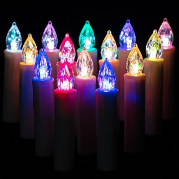 Deuba 30x LED Weihnachtsbaumkerzen kabellos bunt Fernbedienung Timer batteriebetrieben Weihnachtskerzen Christbaumkerzen - 3