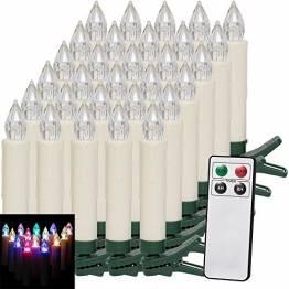 Deuba 30x LED Weihnachtsbaumkerzen kabellos bunt Fernbedienung Timer batteriebetrieben Weihnachtskerzen Christbaumkerzen - 1
