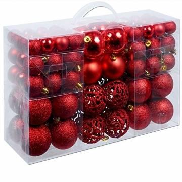 Deuba Weihnachtskugeln 100 Stück Rot - Christbaumkugeln Baumschmuck Weihnachtsbaumschmuck - 1
