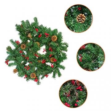 Donken Weihnachtsgirlande mit LED Beleuchtung, Tannengirlande Weihnachtsdeko Weihnachten Girlande Tanne Künstlich Dekogirlande für Treppen Kamine Weihnachten, Grün - 3