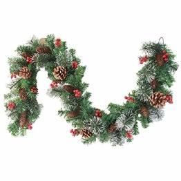 Donken Weihnachtsgirlande mit LED Beleuchtung, Tannengirlande Weihnachtsdeko Weihnachten Girlande Tanne Künstlich Dekogirlande für Treppen Kamine Weihnachten, Grün - 1