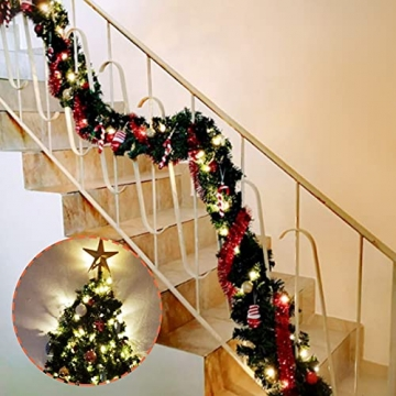 Donken Weihnachtsgirlande mit LED Beleuchtung, Tannengirlande Weihnachtsdeko Weihnachten Girlande Tanne Künstlich Dekogirlande für Treppen Kamine Weihnachten, Grün - 4