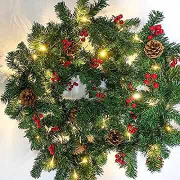 Donken Weihnachtsgirlande mit LED Beleuchtung, Tannengirlande Weihnachtsdeko Weihnachten Girlande Tanne Künstlich Dekogirlande für Treppen Kamine Weihnachten, Grün - 5