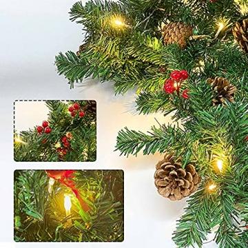 Donken Weihnachtsgirlande mit LED Beleuchtung, Tannengirlande Weihnachtsdeko Weihnachten Girlande Tanne Künstlich Dekogirlande für Treppen Kamine Weihnachten, Grün - 6