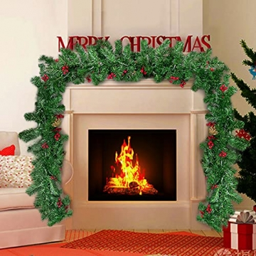 Donken Weihnachtsgirlande mit LED Beleuchtung, Tannengirlande Weihnachtsdeko Weihnachten Girlande Tanne Künstlich Dekogirlande für Treppen Kamine Weihnachten, Grün - 7