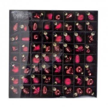 Ecomax 62-teilig Mini Christbaumkugeln-Set aus Glas Weihnachtsbaumkugeln Glaskugeln mit Haken Ø 4cm Schmuckkugeln Baumschmuck - Farbe: Rot/Bordeaux - 1