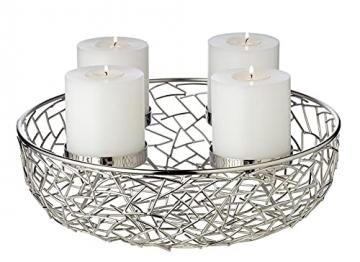 EDZARD Adventskranz Milano, Edelstahl vernickelt silberfarben, Durchmesser 34 cm, für Kerzen ø 8 cm, moderner Kerzenhalter, Perfekt für Cornelius Kerzen, individuell dekorieren - 2