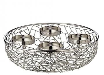 EDZARD Adventskranz Milano, Edelstahl vernickelt silberfarben, Durchmesser 34 cm, für Kerzen ø 8 cm, moderner Kerzenhalter, Perfekt für Cornelius Kerzen, individuell dekorieren - 3