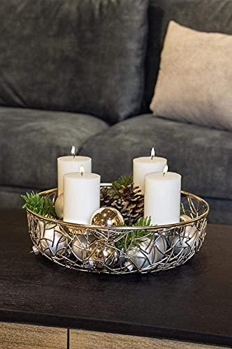 EDZARD Adventskranz Milano, Edelstahl vernickelt silberfarben, Durchmesser 34 cm, für Kerzen ø 8 cm, moderner Kerzenhalter, Perfekt für Cornelius Kerzen, individuell dekorieren - 6