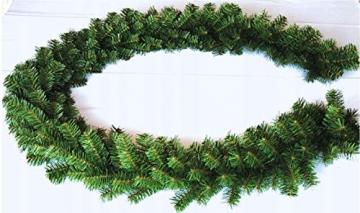 Geodezja Lublin Dekorative Weihnachtsgirlande künstliche Tannengirlande Weihnachtsdeko Kunstgirlande einsetzbar im Innen- und Außenbereich in Grün (9m) - 2